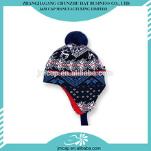 Winter pretty decorations earflaps design knitted warm children size hat with top ball