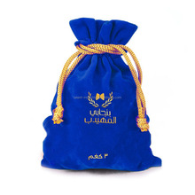 Logo printed premium customized velvet wine pouch bag with tassels