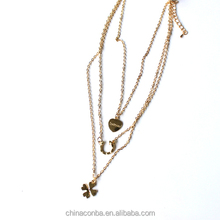 Fashion gold necklaces with four-leaf clover for young girls
