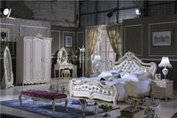 top leather french 1.8m kind size bed bdroom furniture / Versailles bedroom design L101