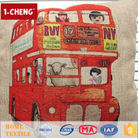 Hot Sale Creative Fashion Bus Design Printed Pillow Home Decor Lumbar Support Pillow,Colored Wholesale Pillow