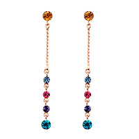 Fashion jewelry zinc alloy with 18k gold plating crystal dangle earring, colorful crystal pendant earring