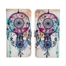 For iPhone 5s flip Case custom printing dream catcher leather cover for iPhone 5 5s