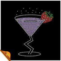 Wine Glass Rhinestone Iron on Transfer with Strawberry