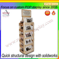 4 Sided wooden floor post card display stand