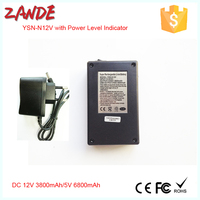 Mini 12V 3800mAh/5V 6800mAh black li-ion battery with power indicator for high quality