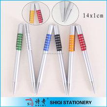 Colorful aluminum rings slim ball pen