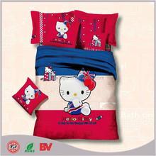 hot saling wholesale textile design 3d kids cartoon bed sheet/cat print kids bedding set