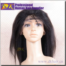 Guangzhou DK Top sell tangle free long thick yaki glueless full lace 100% brazilian afro kinky Human hair Wig