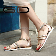 Beaded Rhinestone Flat Sandals Women Open Toe Shoes Women Wedges Roman Sandals Soft Leather Summer Sandals Flats New 2015