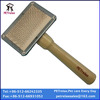 (S) PR80027-1 high quality stainless plate wood handle pet product easy brush eco-friendly pet brush