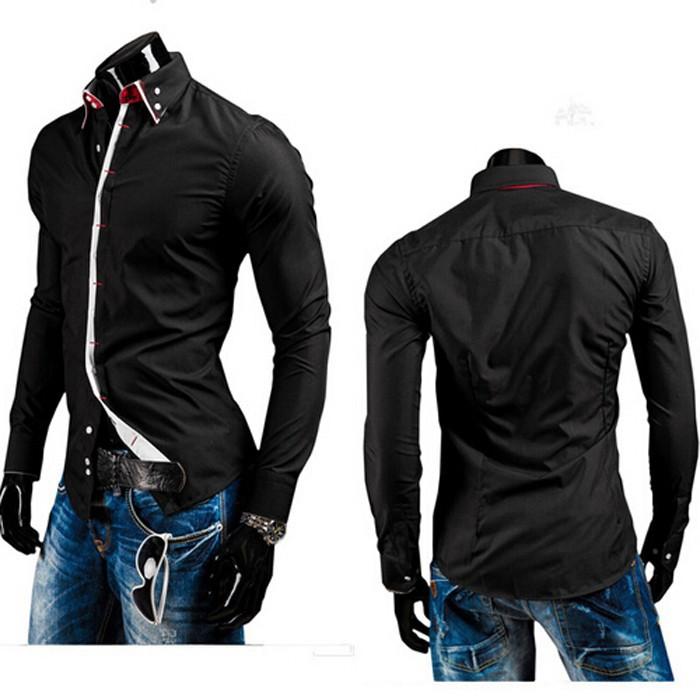 падение & новой осенней мужской бренд моды Клетчатая рубашка с длинными рукавами, корейский Дизайн slim верхняя одежда Рубашки повседневные черные
