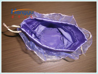 Hongyu new design round bottom satin bag sewing lace
