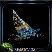 Beautiful sailing boat hot fix rhinestones designs