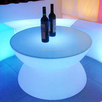 Plastic LED Shining Double Table/Outdoor garden led bar table