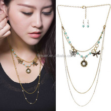 Latest Design Necklace Alloy Butterfly Dragonfly SunShine Charm Necklace