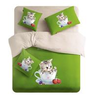 China manufacture cat print children bedding set photo printed bed sheet set