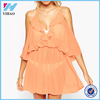 Yihao 2015 Ladies Latest Designs Clothes Sexy Frill Cold Shoulder Beach Dress Fashion Chiffon Casual Mini Dresses For Women