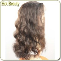 Middle Cap Large Density Full Lace Human Light Brown Short Wig