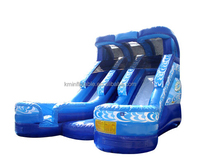 wet dry double lane splash Inflatable water slide