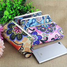 2015 new style 6 inches fashion cute Europe and the United States to restore ancient ways printed buckles zero wallet