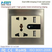 USB power 3-gang socket outlet double USB wall socket 5V2.1A and 5V2.4A charging phones without chargers