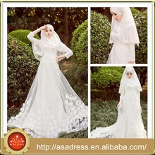 MSL120 Factory Made Hijab Long Sleeve Lace Appliqued Beading Maxi Arabic Muslim Wedding dresses