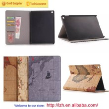 Retro Map Pattern wallet leather case for iPad Air 2/iPad 6
