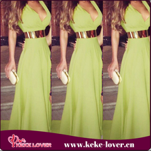 2015 high quality office ladies formal party dress vestidos sleeveless green sexy girls dresses hot sale summer long prom dress