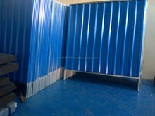 Corrugated Metal Fencing Dark Blue color Yellow color Off White Color