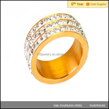 fashion cheap female 24k gold stainless steel diamond ring for wedding jewelry (JZ-097)