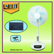 AC/DC double duty 12V solar dc fan with emergency lights home dc table fan for Afghanistan