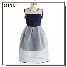 Latest fashion tulle evening dress navy blue color combination for blue dress