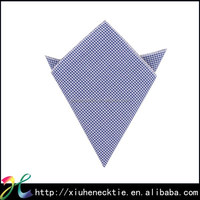Fashion Mens Pure Cotton Checked Blue and White Pocket Square