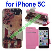 Hello Kitty Shimmering Powder Leather Case for iPhone 5C with Card Slot and Stander