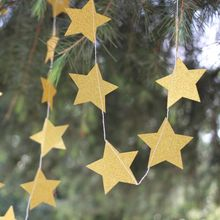 Gold / Silver Glitter Star Garland For Christmas Birthday Party, Baby Shower
