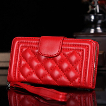 Boy Style Lattice Wallet Cell Phone Case Pouch Handbag Sheep Skin Leather Mobile Phone Bag For iPhone 6 iPhone 6 Plus