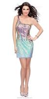 Brilliant Short Paillette Sequins Colorful One Shoulder Short Sexy Cocktail Dress Patterns