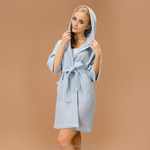 blue hooded waffle bathrobe animal sex with women contain soft cotton materials