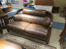 noble genuine leather of calf wooden frame wrought iron SOFA bed