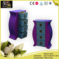 small wooden drawer jewerly storage box made of satin and fabric (6149)