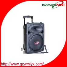 powered 15inch woofer speaker with storage battery portable trolley speaker box with wheels plastic sound box