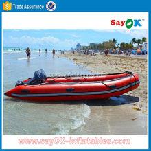 China 420 rib hypalon water banana boat inflatable boat with tent