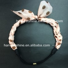 ,Polka Dot Fabric Braided Elastic Hairband,Stretch fashion headbands,Lovely Cute Chiffon Headband For Girls