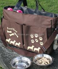 Dog travel tote & bowl set brown color