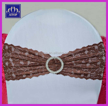 New Fashion Brown Lace Chair Band Spandex Chair Bow Sash With Buckle For Wedding Event Hotel Decoration