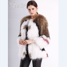 Fashion Wholesale Women Mult Color Luxury Knitted Raccoon Fur Coat