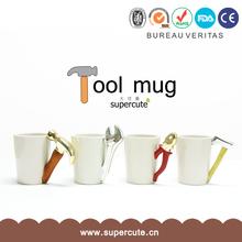 Interesting design white ceramics 4 shape Christmas gift stainless steel mug