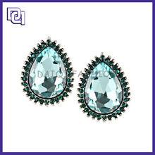 simple teardrop shape Stud Earrings,Protektor Earring Backs For Elegant Women,Onyx stud Earrings With Blue Rhinestone