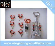 wine corkscrew and wine bottle charms set
